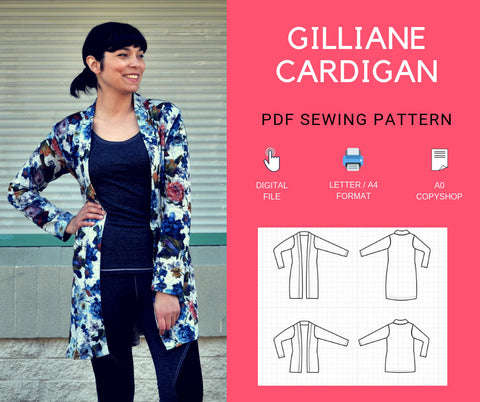 Gilliane Cardigan PDF sewing pattern and tutorial for women, including printable instructions and PDF sewing pattern