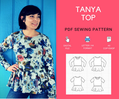 The Tanya Top PDF sewing pattern - DGpatterns