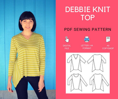 Debbie Knit Top PDF sewing pattern - DGpatterns