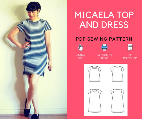 The Micaela Top and Dress PDF sewing pattern and step by step sewing tutorial - DGpatterns