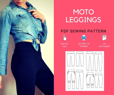 The Moto Leggings PDF sewing pattern and step by step sewing tutorial - DGpatterns