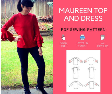 The Maureen Top and Dress PDF Sewing Pattern and Tutorial - DGpatterns