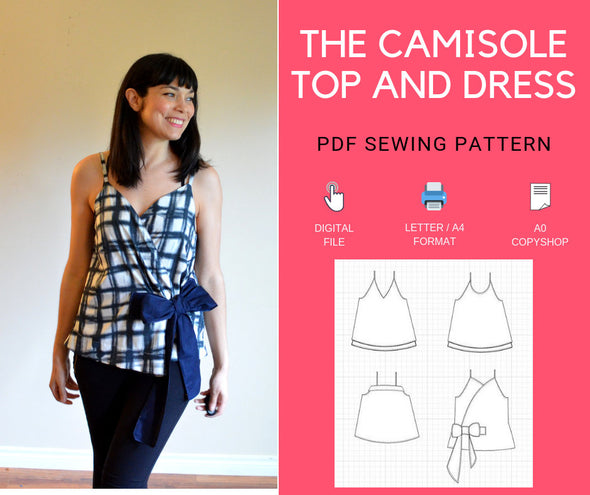 Camisole top and dress PDF sewing pattern and step by step sewing tutorial - DGpatterns