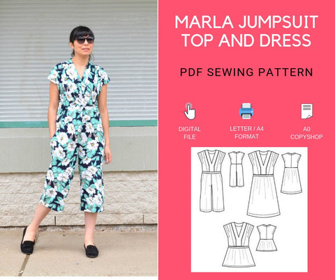 The Marla Jumpsuit, Top and Dress PDF sewing pattern