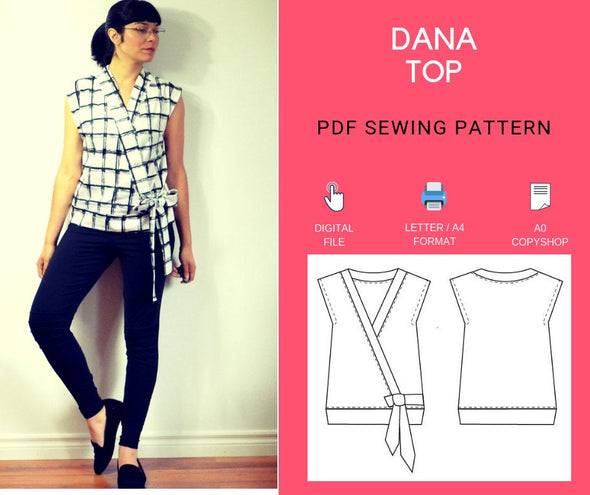 DANA TOP PDF sewing pattern and sewing tutorial for women - DGpatterns