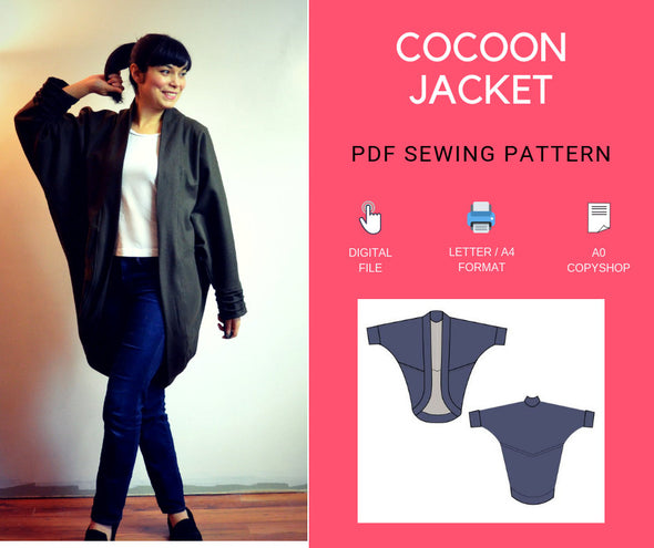Cocoon Jacket PDF sewing pattern and tutorial - DGpatterns