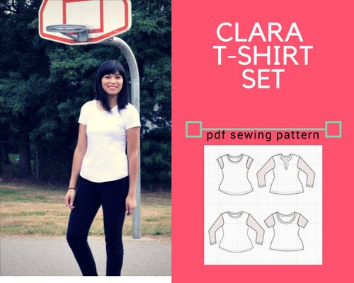 Clara T-shirt Set PDF sewing pattern - DGpatterns