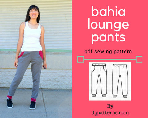 The Bahia Lounge Pants PDF sewing pattern and printable sewing tutorial