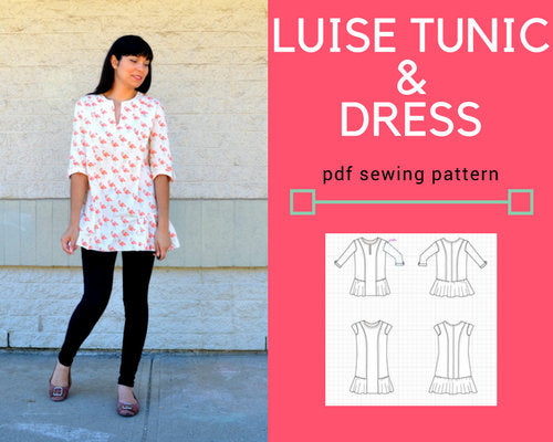 The Luise Tunic and Dress PDF printable sewing pattern and step by step sewing tutorial - DGpatterns