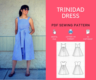 The Trinidad Dress PDF sewing pattern and step by step sewing tutorial - DGpatterns