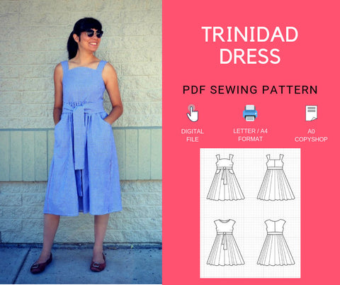 The Trinidad Dress PDF sewing pattern and step by step
