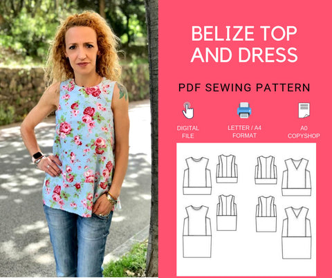The Belize Loose Woven Top and Dress PDF sewing pattern and tutorial for women sizes 4 to 22