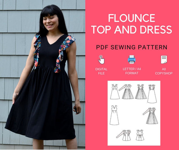 The Flounce Dress and Top PDF sewing pattern - DGpatterns