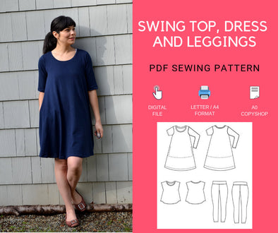 Swing Top, Tunic and Dress, plus leggings - DGpatterns
