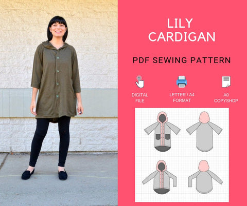 Lily Cardigan PDF sewing pattern and printable sewing tutorial for women sizes available 4 to 22 including plus size patterns