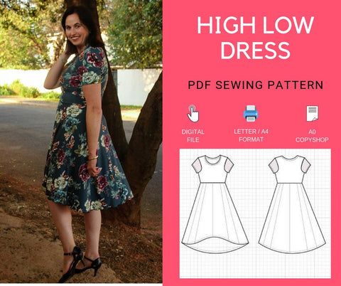 High Low Skater Dress PDF printable sewing pattern and Step by Step sewing tutorial