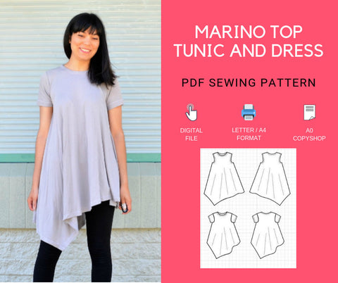 The Marino Top, Tunic and Dress PDF sewing pattern and sewing tutorial for women