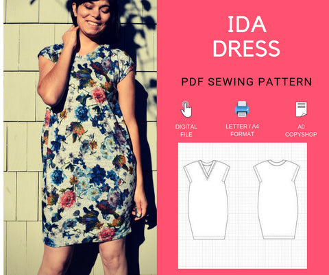 Ida Dress PDF printable sewing pattern and tutorial for women