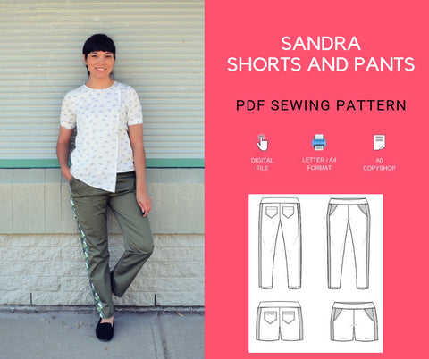 Sandra Pants and shorts PDF sewing pattern and step by step sewing tutorial
