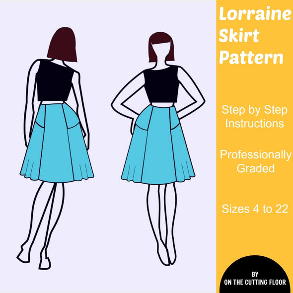 Lorraine Skirt PDF Pattern: Instant Download PDF Sewing Pattern for women.  Easy make of asymmetrical skirt pattern for plus size women - DGpatterns