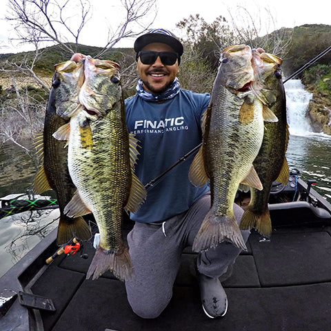Finatic Pro Andre Casey Holding Bass at San Vicente