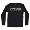 Front of black longsleeve Finatic Everyday Tee. Large Finatic Performance Angling logo across chest.
