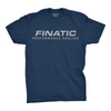 Front of indigo Finatic Everyday Tee. Large Finatic Performance Angling logo across chest.