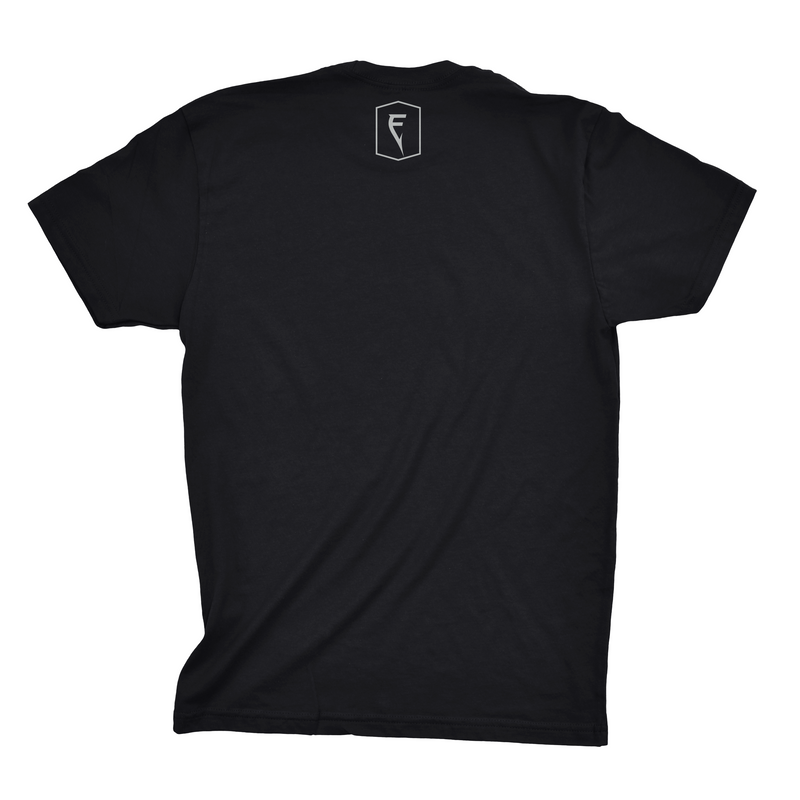 Back of black Finatic Everyday Tee. Small Finatic F Badge logo beneath rear collar.