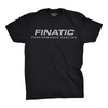 Front of black Finatic Everyday Tee. Large Finatic Performance Angling logo across chest.