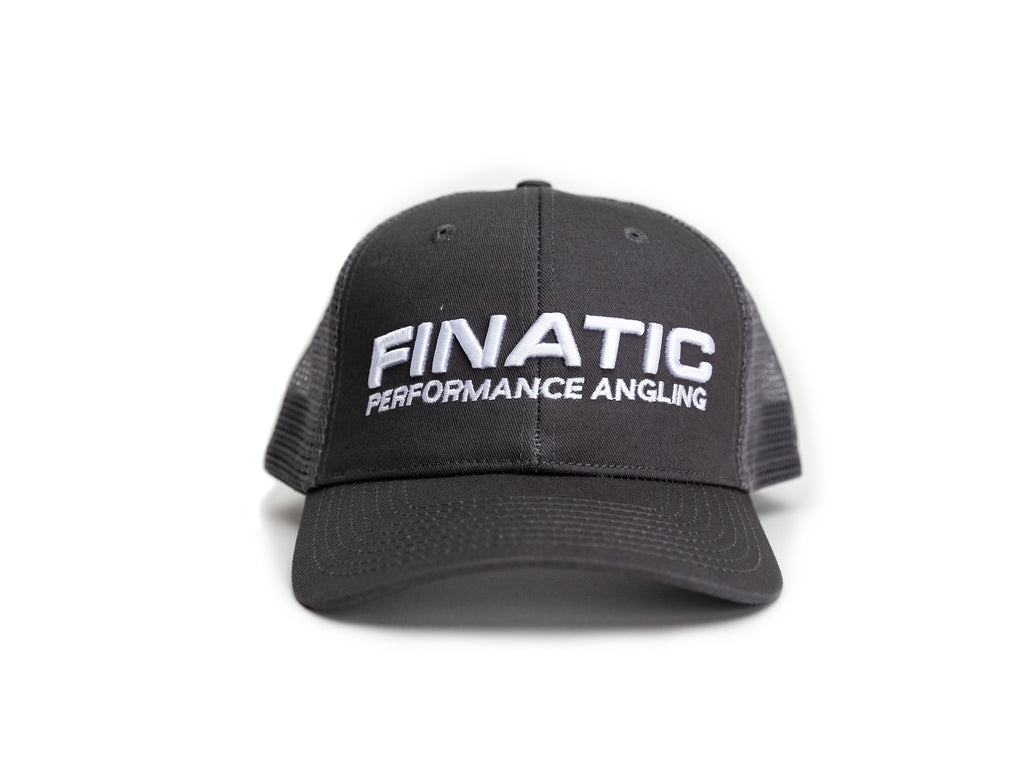 Finatic Everyday Trucker in grey with 3D embroidered logo showing on front of hat.