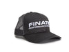 Side angle of Finatic Everyday Trucker in grey with 3D embroidered logo showing on front of hat.