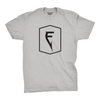 Front of Finatic Badge Tee. Large Finatic F Badge logo on chest.