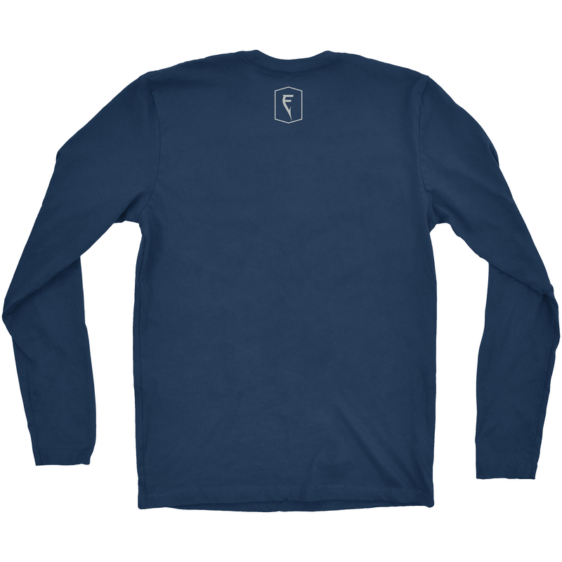 Back of indigo longsleeve Finatic Everyday Tee. Small Finatic Performance Angling logo beneath rear collar.