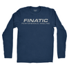 Front of indigo longsleeve Finatic Everyday Tee. Large Finatic Performance Angling logo across chest.