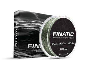 Finatic Pro Series green 150 yard 20 pound braid with retail packaging