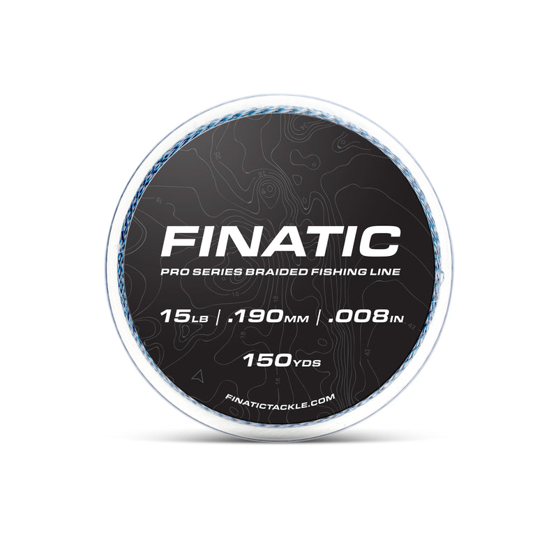 Finatic Pro Series blue 150 yard braided fishing line 15lb spool