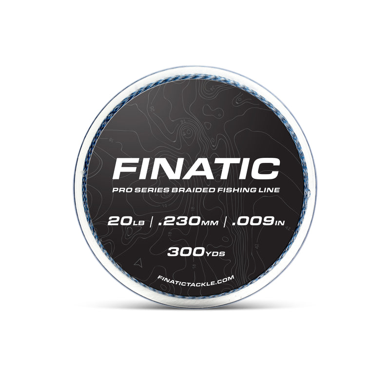 Finatic Pro Series blue 300 yard braided fishing line 20lb spool