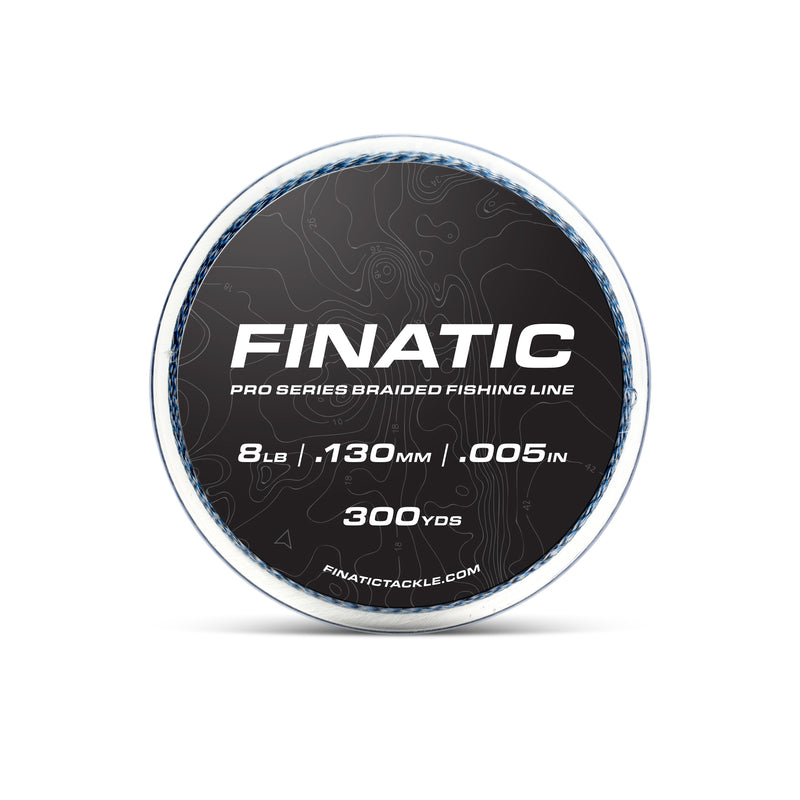 Finatic Pro Series blue 300 yard braided fishing line 8lb spool