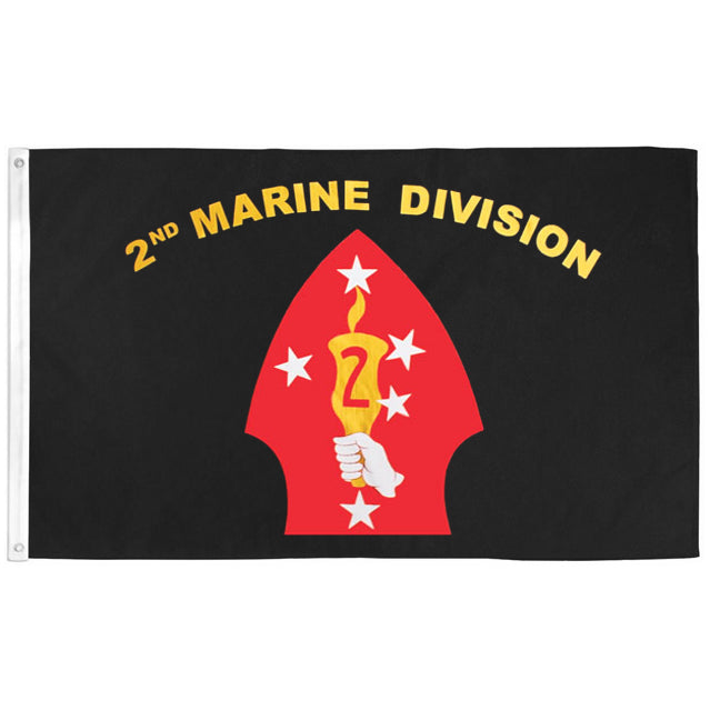 U.S. 2nd Marine Division 3'x5' Flag, Polyester