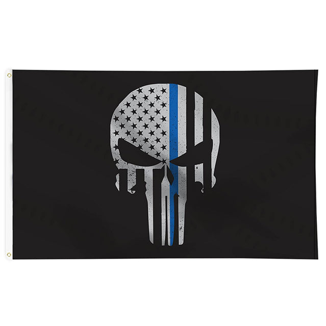 Thin Blue Line Skull 3'x5' Flag, Polyester
