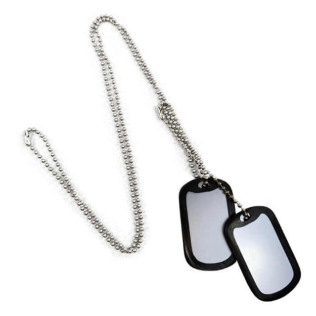 Custom Silver Dog Tag Set, Engraved