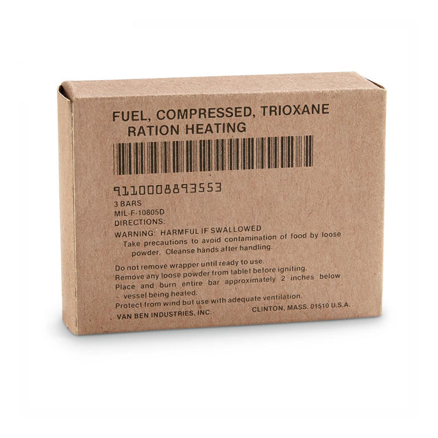 Trioxane Ration Heating Fuel Bars