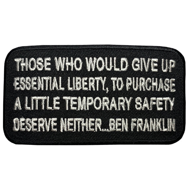 Benjamin Franklin Liberty Quote Patch