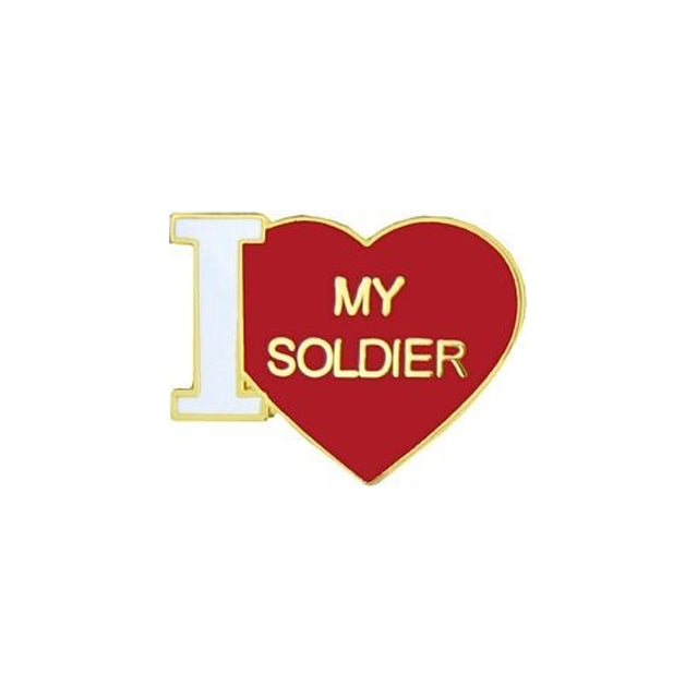 I Love My Soldier Heart Pin