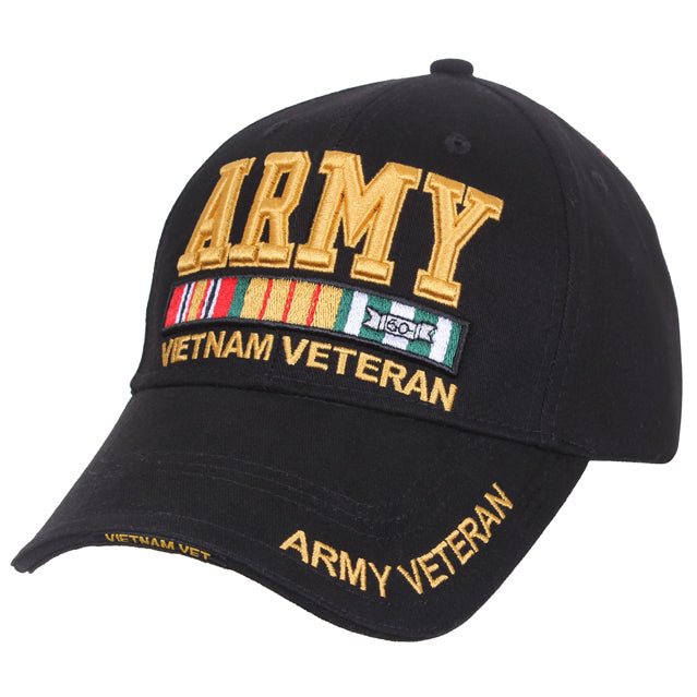 Army Vietnam Veteran Hat, Black & Gold