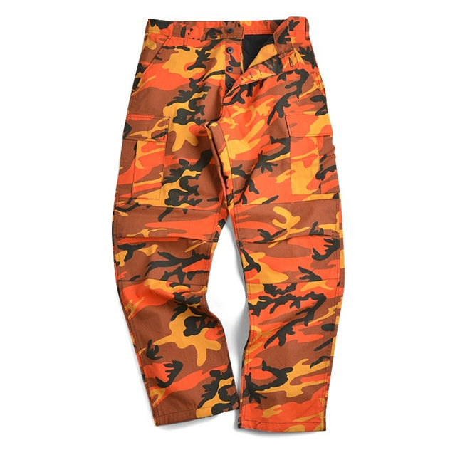Multi-Shade Camouflage BDU Cargo Trousers, Assorted Colors