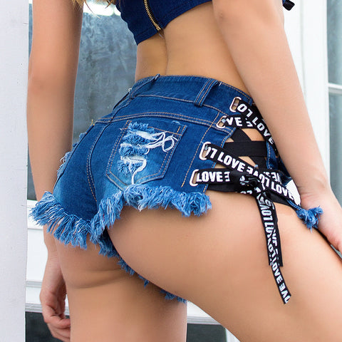 Sexy women denim ripped hole shorts jeans Skinny high waisted elastic lace up bandage
