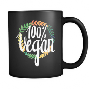 100% Vegan Black 11oz Mug - The Jack of All Trends