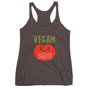 Vegan From My Head Tomatoes Women's Racerback Tank - The Jack of All Trends