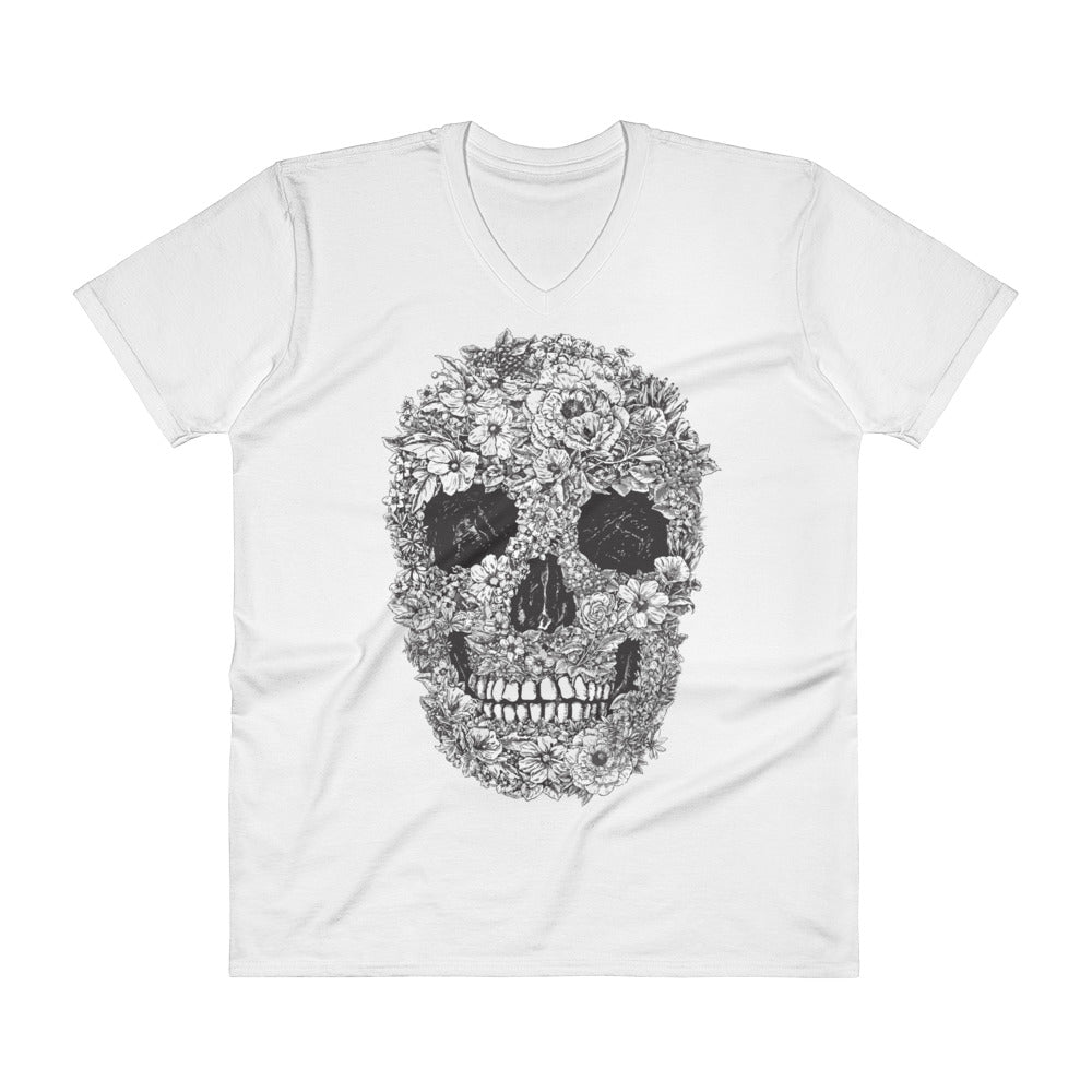Floral Skull Men's V-Neck T-Shirt - The Jack of All Trends